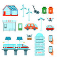 smart city flat icons set vector image vector image