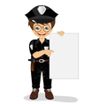 smiling little boy wearing police uniform vector image vector image