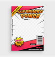 superhero comic magazine front cover page design vector image vector image