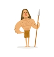 Tall Muscly Warrior With A Spear Wearing Loincloth vector image
