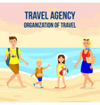 travel agency square banner layout with lettering vector image vector image
