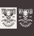 wanted print with skull in vintage style vector image