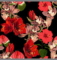 watercolor style red exotic flowers pattern vector image vector image