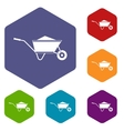 Wheelbarrow with sand icons set vector image vector image