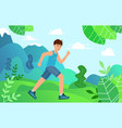 young man is engaged in sports jogging in park vector image