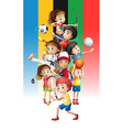 Poster of children doing different sports vector image