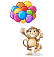 monkey holding colorful balloons vector image