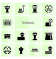 14 terminal icons vector image vector image