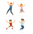 a group of young teenage and kid happy and jump vector image vector image