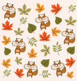 autumn seamless pattern with leaves and squirrels vector image vector image