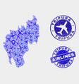 aviation collage tripura state map and vector image vector image
