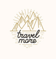 badge in trendy linear style with mountain vector image