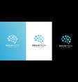 brain technology logo design line style vector image vector image