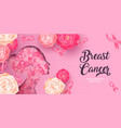 breast cancer awareness card papercut flower woman vector image vector image