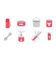 camping kitchen set cookhouse traveling equipment vector image vector image