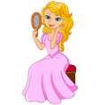 Cartoon beautiful princess holding glass vector image vector image