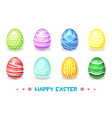 cartoon colored easter eggs with different vector image vector image