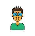 cartoon man character wear glasses and green vector image