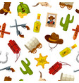 cartoon wild west elements pattern or vector image vector image