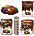 Chocolate cookies in many packaging vector image