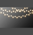 christmas lights isolated glowing yellow garlands vector image vector image