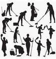 cleaning -house silhouettes vector image vector image