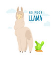 cool cartoon doodle alpaca lettering quote with no vector image vector image