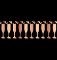 copper foil champagne flute seamless border vector image vector image