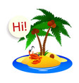 crab pirate on a desert island with palm trees vector image