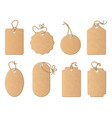 different empty shop tags with linen ribbon or vector image