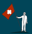 doctor wear protection cloth standing with heath vector image vector image