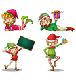 Dwarves wearing hats for christmas and an empty vector image vector image