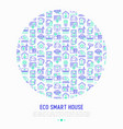 eco smart house concept in circle vector image vector image