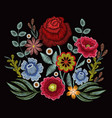 embroidery spring wild flowers for fashion clothes vector image vector image