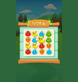 farm fruits match 3 tutorial - mobile game assets vector image vector image