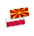 flags north macedonia and poland on a white vector image