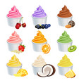 frozen yogurt cups icons set with fruits vector image