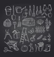 gardening doodle icons on black chalkboard vector image vector image