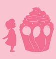 girl and cupcake vector image vector image