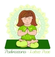 girl in Padmasana with mandala background vector image vector image