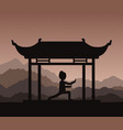girl performing qigong or taijiquan exercises in vector image vector image