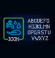 glowing neon wudhu icon isolated on brick wall