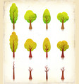 grunge trees icons set vector image