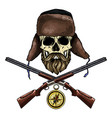hand drawn hunter skull vector image vector image