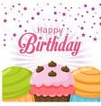 happy birthday cake confetti star background vector image vector image