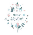 happy birthday lettering line b-day party kids vector image