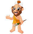 happy cavemen cartoon presenting vector image