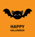 happy halloween black bat flying silhouette icon vector image vector image