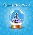 happy new year greeting card with crystal snow vector image