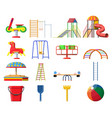 kids playground kindergarten set vector image vector image